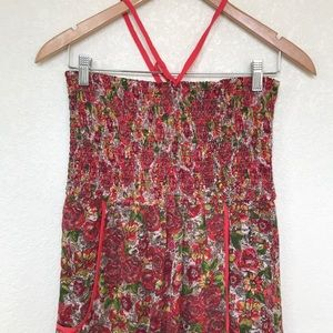 Band of Gypsies floral maxi jumpsuit halter sz M